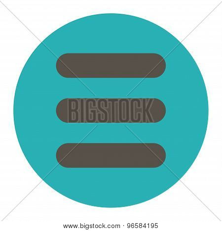 Stack flat grey and cyan colors round button