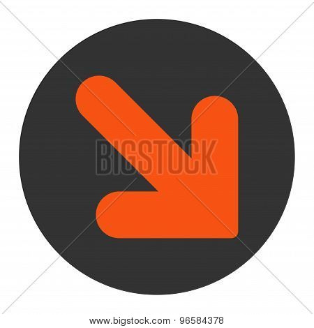Arrow Down Right flat orange and gray colors round button