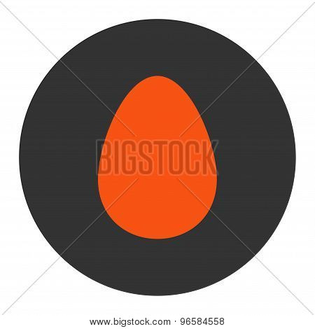 Egg flat orange and gray colors round button