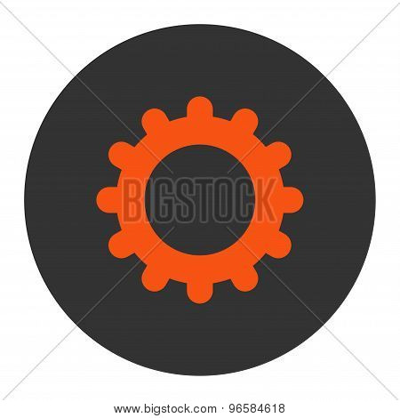 Gear flat orange and gray colors round button