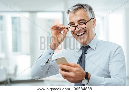 Businessman With Eyesight Problems