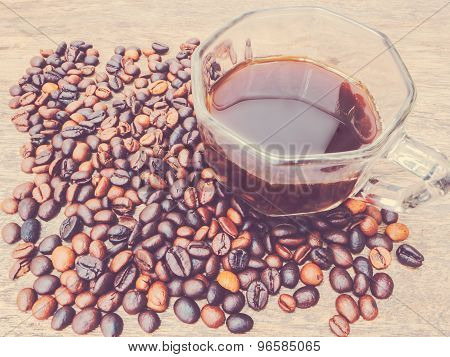 Coffee Bean And Glass Cup