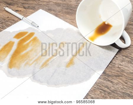 Coffee Spilled Out From White Cup