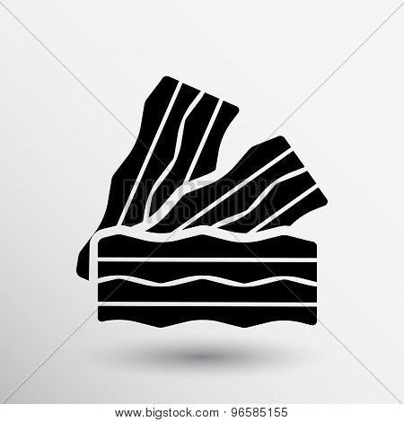 bacon logo Pieces of fresh ham isolated