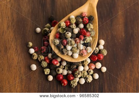 Mixed Green, Red, White And Black Peppercorns