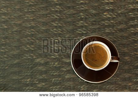 Cup Of Coffee Espresso On Wood Background, Morning Breakfast, Selective Focus.