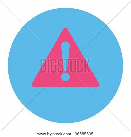 Warning flat pink and blue colors round button