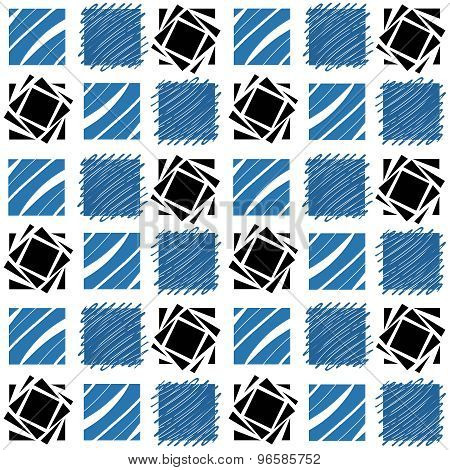 Blue And Black Patchwork Pattern