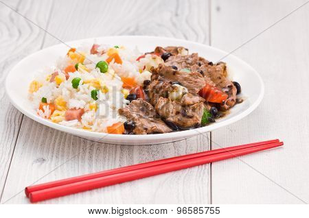 Vegetable Beef Fried Rice