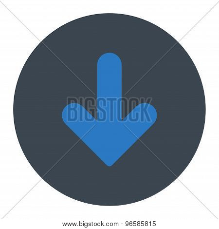Arrow Down flat smooth blue colors round button