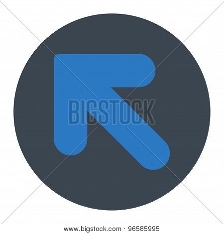 Arrow Up Left flat smooth blue colors round button