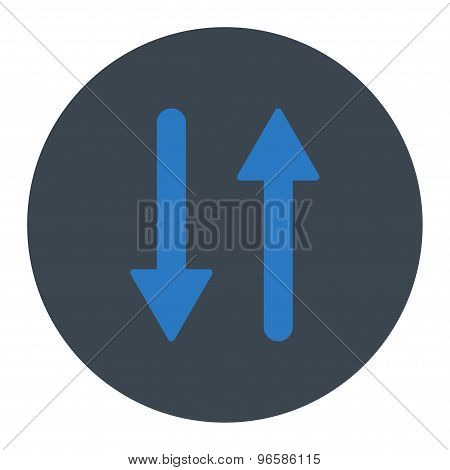 Arrows Exchange Vertical flat smooth blue colors round button