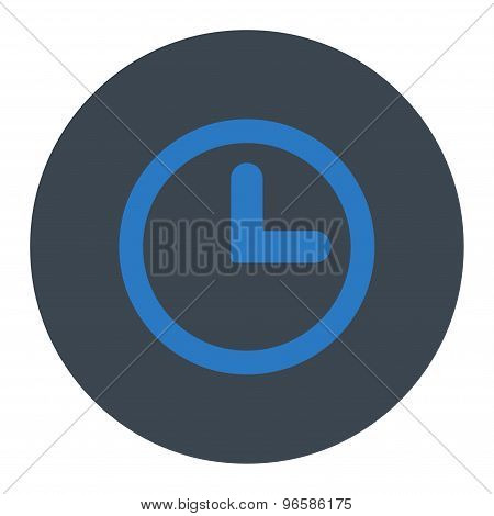 Clock flat smooth blue colors round button