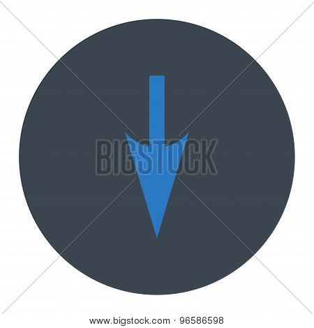Sharp Down Arrow flat smooth blue colors round button