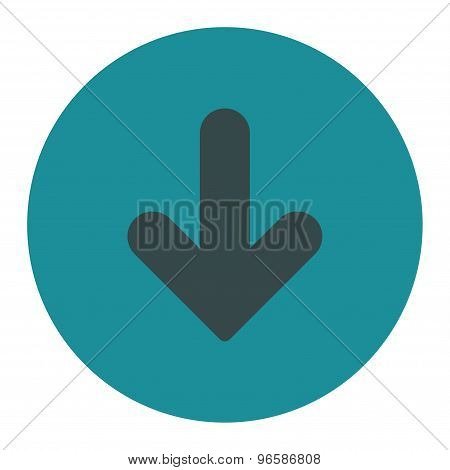 Arrow Down flat soft blue colors round button