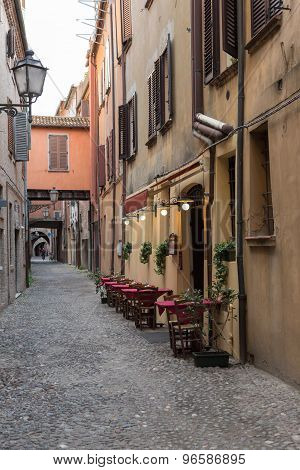 Ancient Trattoria In The Downtown Of Ferrara City