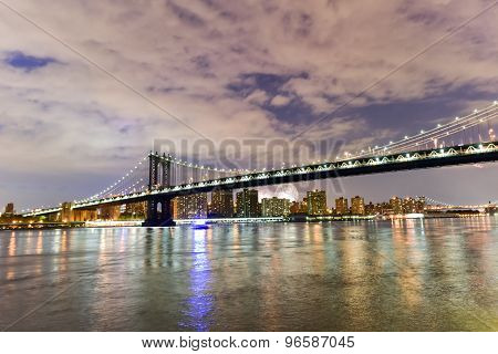 Brooklyn Bridge And Manhattan View With Fireworks