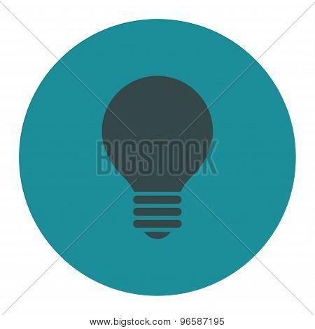 Electric Bulb flat soft blue colors round button