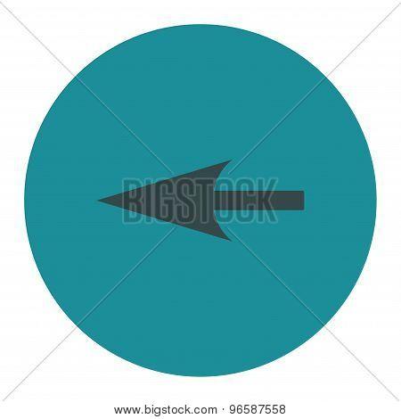 Sharp Left Arrow flat soft blue colors round button