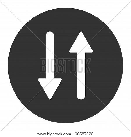 Arrows Exchange Vertical flat white and gray colors round button