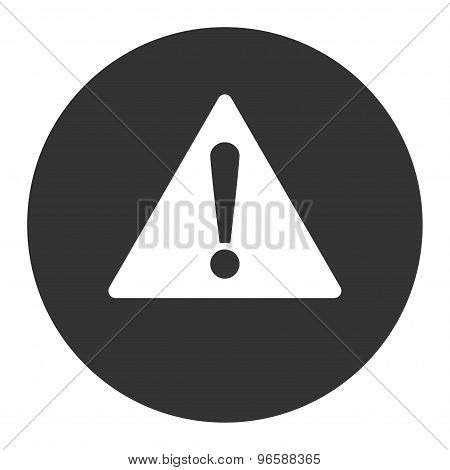Warning flat white and gray colors round button