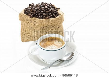 Cup Of Coffee And Coffee Beans In Sack