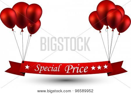 Special price ribbon background with red balloons. Vector illustration.
