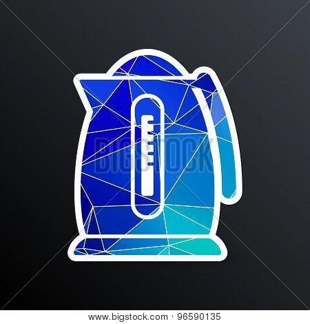 Electric kettle icon kitchen vector preparation illustration