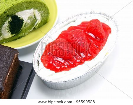 Close Up Strawberry Cheesecake Isolated Over White Background