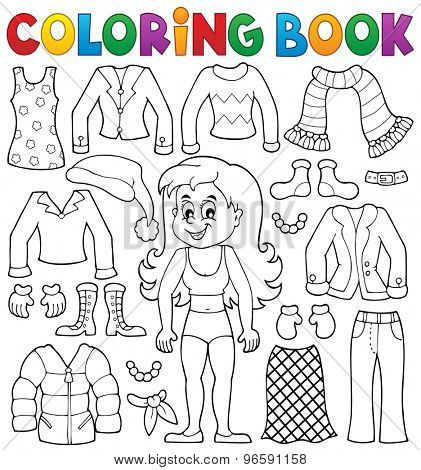 Coloring book girl with clothes theme 2 - eps10 vector illustration.