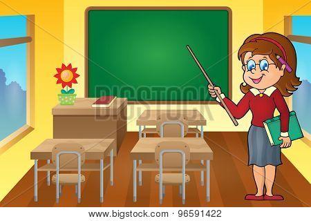 Woman teacher theme image 6 - eps10 vector illustration.
