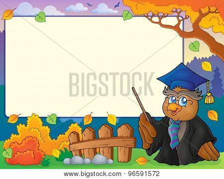 Autumn frame with owl teacher 5 - eps10 vector illustration.