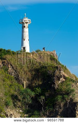 Scenery of lighthouse on high hill
