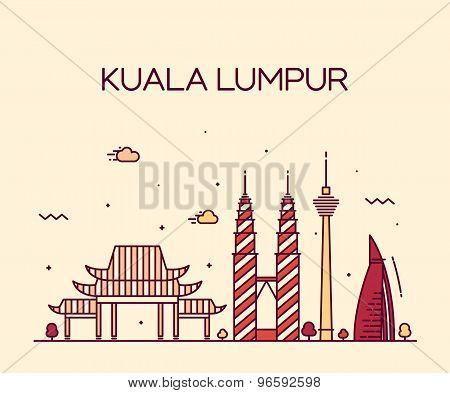 Kuala Lumpur Trendy vector illustration line art