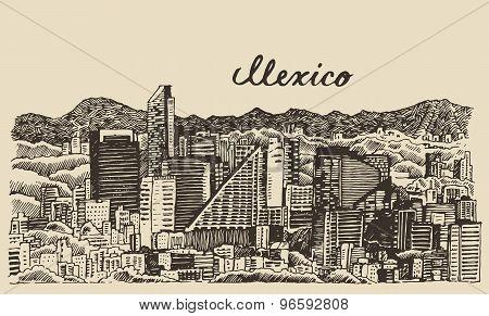 Mexico skyline vintage engraved vector Sketch