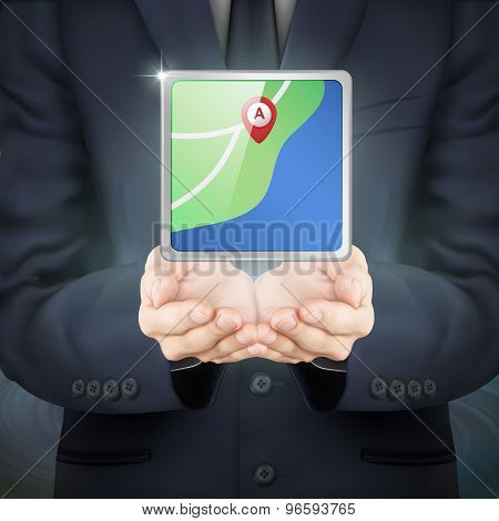 Businessman Holding City Map