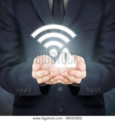 Businessman Holding Wifi Connection Problem Icon