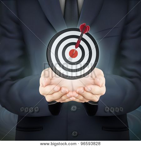 Businessman Holding Target Icon