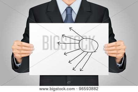 Businessman Holding Blank Flow Chart