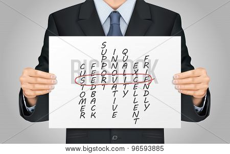 Businessman Holding Service Crossword Poster