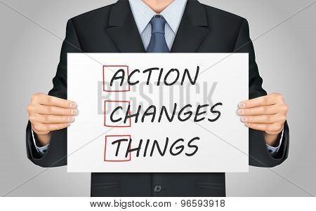 Businessman Holding Action Changes Things Poster