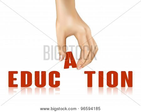 Education Word Taken Away By Hand