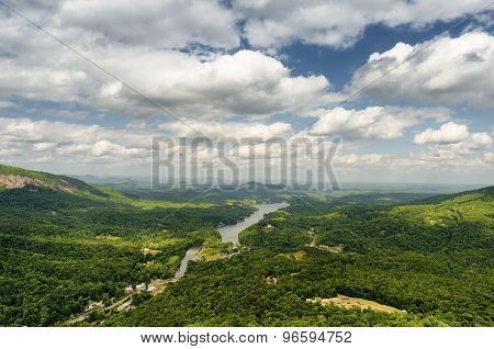 Aerial view from Chimney rock mountain at the Lake Lure in North Carolina