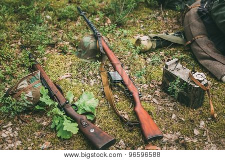 Soviet and German rifles of World War II - SVT 40 and Mauser Kar