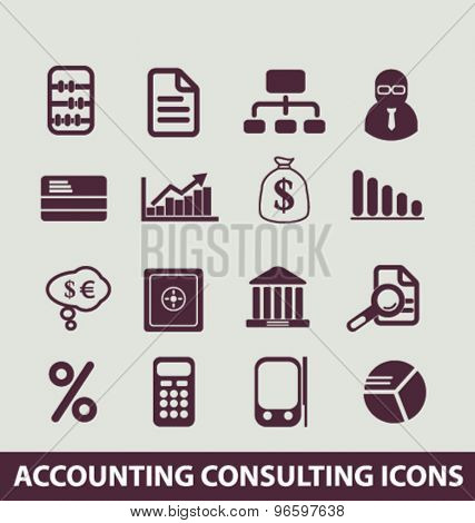 accounting, consulting, services, finance, bank, chart, investment icons, signs, illustrations set, vector
