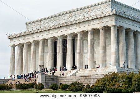 Washington DC, US - April 05, 2015 - Lincoln Memorial building exterior in Washington DC