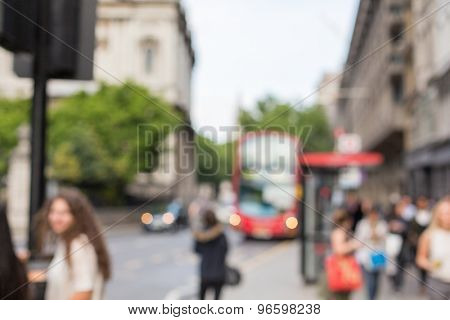 city life, public places and backgrounds concept - city street with people and transport in london
