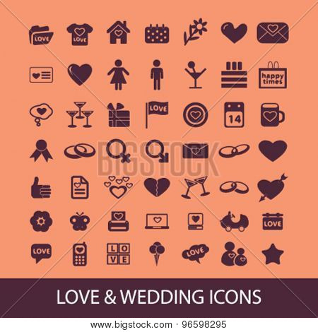 love, wedding, relations, romance icons, signs, illustrations set, vector
