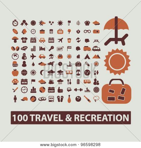travel, recreation, vacation, summer icons, signs, illustrations set, vector
