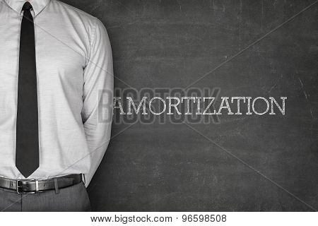 Amortization text on blackboard